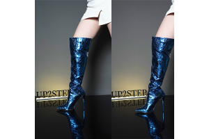 Spring Boots Trends-Mirror Metallic Knee High Boots