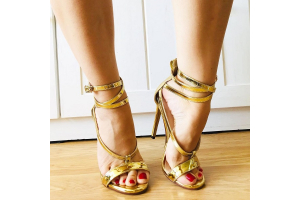 Multi-Outfits With Golden Strappy SANDALS