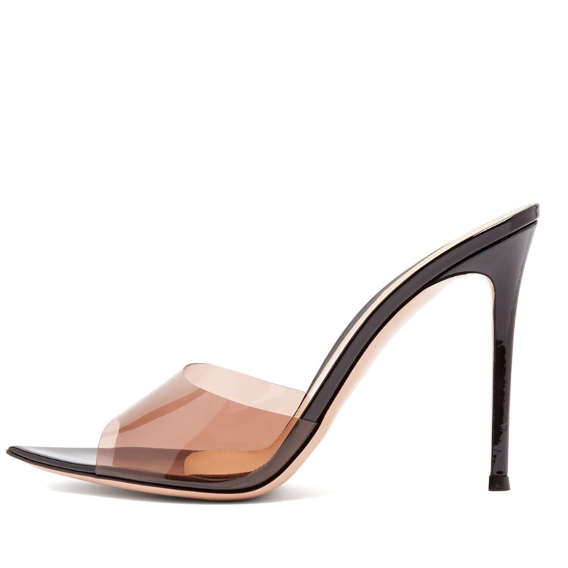 PVC Jelly Stiletto Heel 5 inch Sandals Pointed Toe Clear Heeled Slides