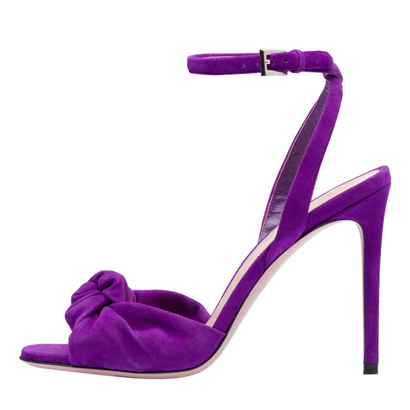 """Suede Stiletto Slingback Ankle Strap 5"""" Heels Knotted Sandals Shoes"""