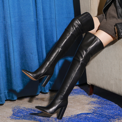 Black Pointed Toe Block Heel Woman Thigh High Boots