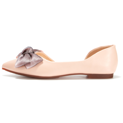 Pink Big Bow D'orsay Flats Pointed Toe Comfortable Flat Shoes for Pregnancy