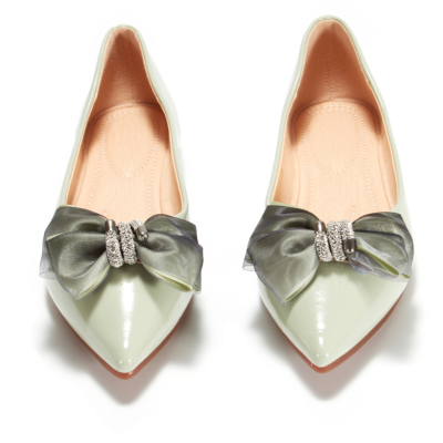 Green Bow Work Flats Pointed Toe Comfortable Flat Shoes for Women