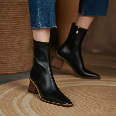 Black Chunky Heel Ankle Boots Square Toe Leather Boots with Zipper