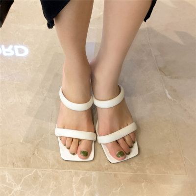 White Fashion Puffy Shoes Heels Padded Two-Strap Sandals