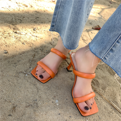 Orange Fashion Puffy Shoes Heels Padded Two-Strap Sandals