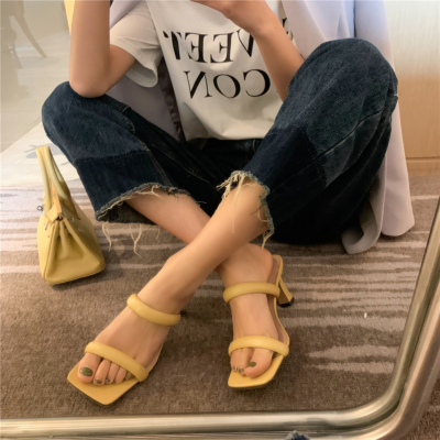 Yellow Fashion Puffy Shoes Heels Padded Two-Strap Sandals