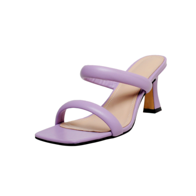 Purple Fashion Puffy Shoes Heels Padded Two-Strap Sandals