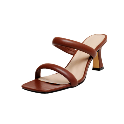 Brown Fashion Puffy Shoes Heels Padded Two-Strap Sandals