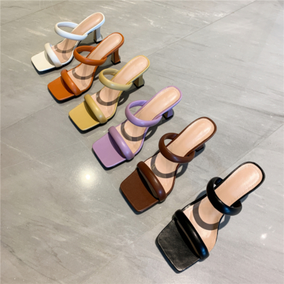 2021 Fashion Puffy Shoes Heels Padded Two-Strap Sandals
