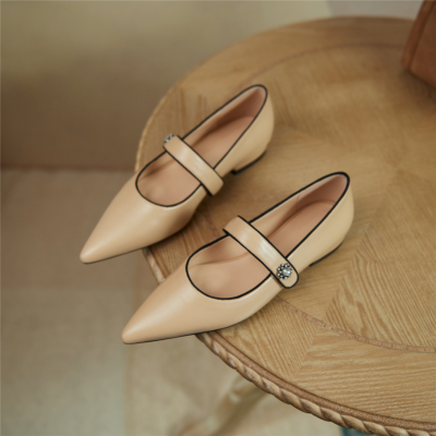 Nude 2021 Spring Leather Mary Jane Flat Pumps Shoes with Crystal Embellishment