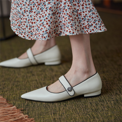 White 2021 Spring Leather Mary Jane Flat Pumps Shoes with Crystal Embellishment