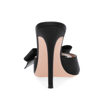 2021 Satin Open Toe Stiletto Mules Shoes Pumps with Bow