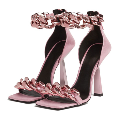 2021 Sexy Chunky Chain Sandals Heels Ankle Chain Block High Heels Dress Shoes