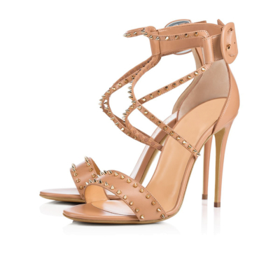 Pink Sexy Criss Cross Ankle Strap Rivet Sandals Stiletto Heel Party Shoes