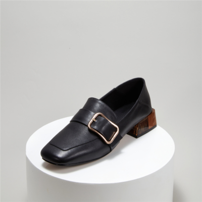 2021 Slip-on Heeled Buckle Work Loafters Pumps with Square Toe
