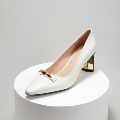2021 Spring Gold Metal Heels Pumps Leather Golden Buckle Work Shoes in White
