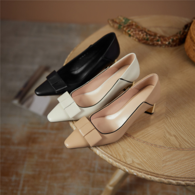 2021 Spring Gold Metal Heels Pumps Leather Pointy Toe Work Shoes