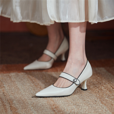 White 2021 Spring Leather Mary Jane Pumps Shoes with Crystal Embellishment
