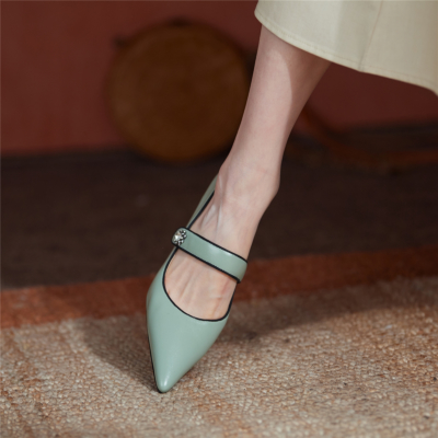 Green 2021 Spring Leather Mary Jane Pumps Shoes with Crystal Embellishment