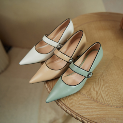 2021 Spring Leather Mary Jane Pumps Shoes with Crystal Embellishment