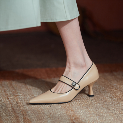 Nude 2021 Spring Leather Mary Jane Pumps Shoes with Crystal Embellishment