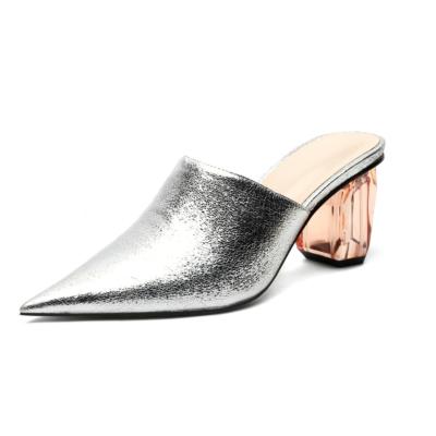 Silver Women's Clear Block Heel Metallic Mules Heels Slip-on Pointed Shoes