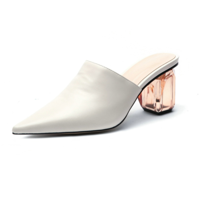 White 2021 Women's Clear Block Heel Matte Mules Slip-on Pointed Shoes