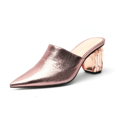 Rose Gold Women's Clear Block Heel Metallic Mules Heels Slip-on Pointed Shoes