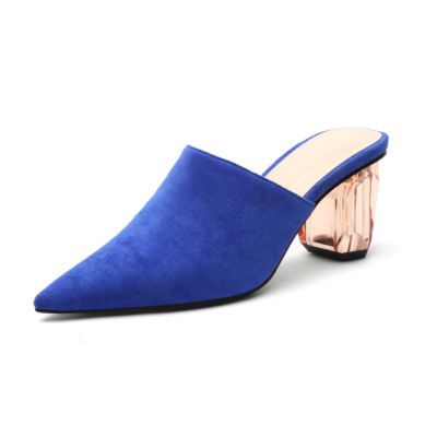 Royal Blue Women's Clear Block Heel Suede Mules Slip-on Pointed Shoes