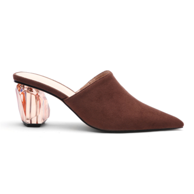 Brown Women's Clear Block Heel Suede Mules Slip-on Pointed Shoes