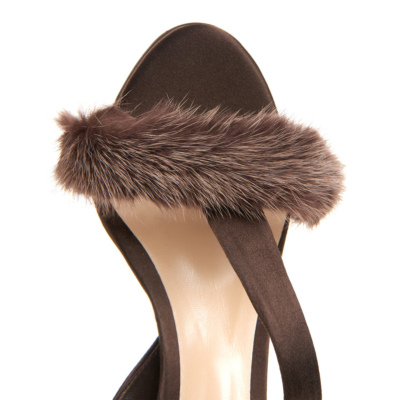 Brown Summer Faux Fur Slingback Stiletto Heel Sandals for Party