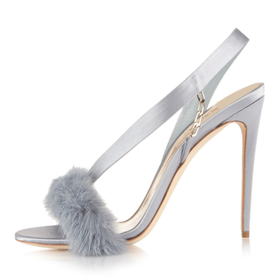 Grey Summer Faux Fur Slingback Stiletto Heel Sandals for Party