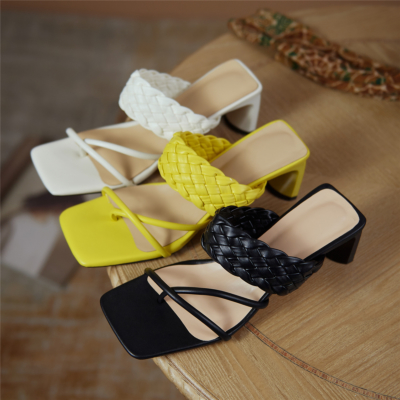2021 Summer New Arrival Leather Woven Mule Heel Sandals