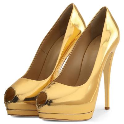 2021 Summer Peep Toe Mirror Stiletto Platform Pumps Heels