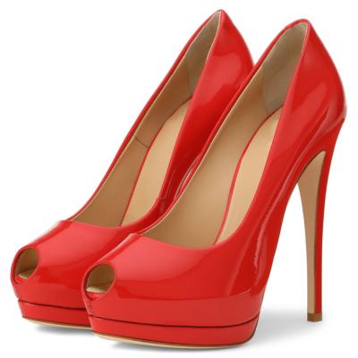 Red Summer Peep Toe Mirror Stiletto Platform Pumps Heels
