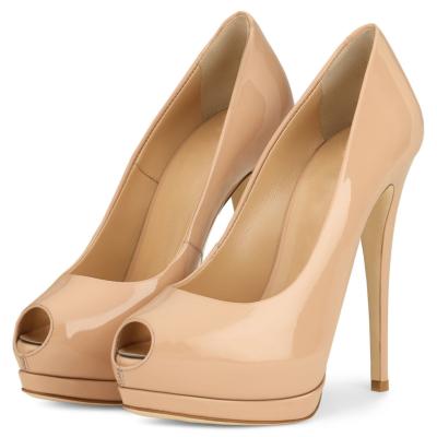 Pink Summer Peep Toe Mirror Stiletto Platform Pumps Heels