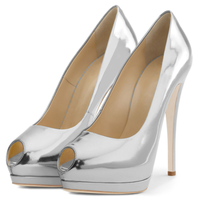 Silver Summer Peep Toe Mirror Stiletto Platform Pumps Heels