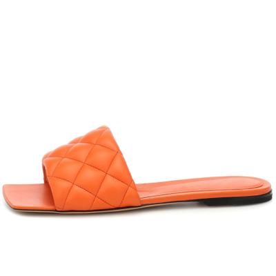 2021 Summer Quilted Square Toe Slide Slip-on Sandals Flat Shoes