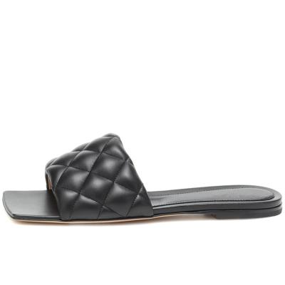 Black Summer Quilted Square Toe Slide Slip-on Sandals Flat Shoes
