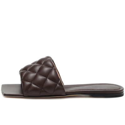 Coffee Summer Quilted Square Toe Slide Slip-on Sandals Flat Shoes