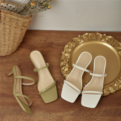 2021 Two Strap Party Sandal Kitten Heel Leather Slide Sandals Heels