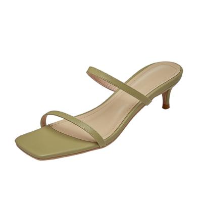 Green Two Strap Party Sandal Kitten Heel Leather Slide Sandals Heels