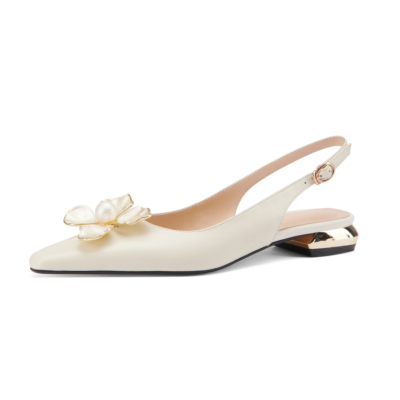 White Wedding Flower Flats Buckle Slingback Bride Leather Shoes