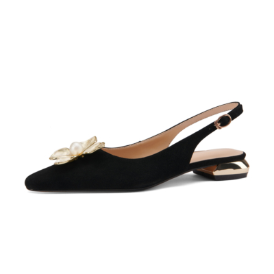 Black 2021 Wedding Flower Flats Buckle Slingback Bride Leather Shoes