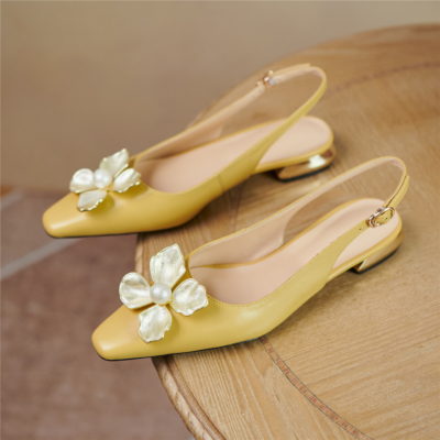 Yellow Wedding Flower Flats Buckle Slingback Bride Leather Shoes
