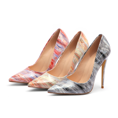5 inch High Heel Stripe Shoes Stiletto Dress Pointed Pumps for Women