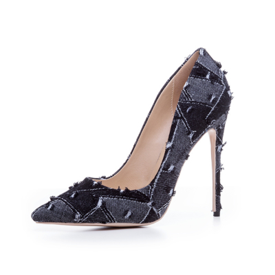 Black 4 inch High Heeled Denim Pumps Stilettos Shoes with Pointed Toe