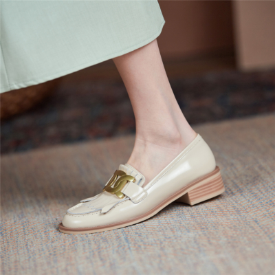 White Gold Buckle Loafers Wooden Heel Women's Leather 2021 Spring Shoes