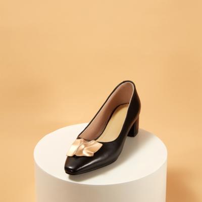 Leather Almond Toe Chunky Heel Women's Pumps